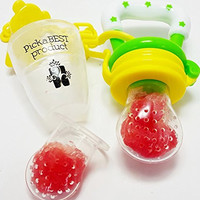 New Baby Food Feeder Nibbler Soother Teether Utensil. Eat Fresh Fruit Vegetables Meat Choke Free From PickaBEST Product. Safe Quality Storage Container With Extra Silicone Mesh Nipple. Bonus Pacifier Clip. Green Yellow.