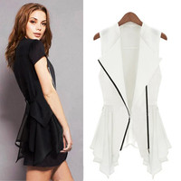 European Fashion Women Chiffon Waistcoat Slim Jacket Asymmetric Hem Zipper Vest White