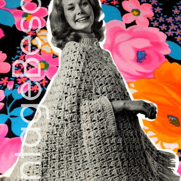 BIG SWING CAPE from 1970s Vintage Crochet Pattern - shawl poncho fringe shell stitch cape boho chic happy hippie retro chic