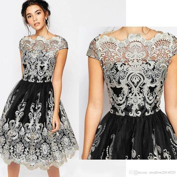 Hot New Women Fashion Maxi Dress Vintage Lace Embroidery Dress Female Mid-Calf O-Neck Vestidos Evening Party Dresses Lady Ball Gown Dresses
