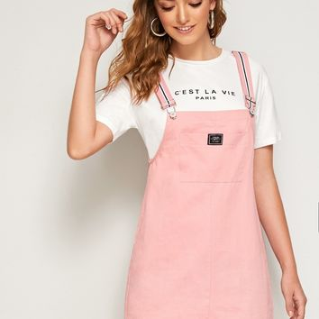 Letter Patched Pocket Pinafore Dress