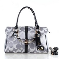 COACH Women Shopping Leather Tote Handbag Shoulder Bag