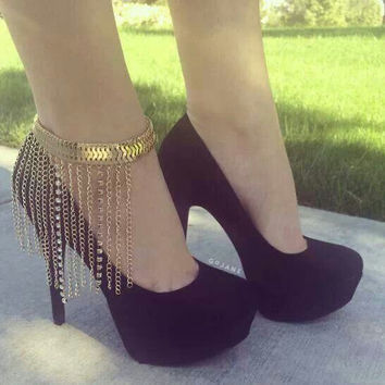 Gift Cute Jewelry Shiny Ladies New Arrival Sexy Stylish Strong Character Tassels Alloy Diamonds Chain High Heel Shoes Anklet [6768778695]