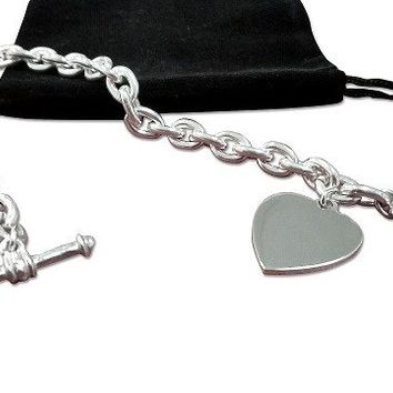 "Tiffany Inspired - Toggle Heart Bracelet Sterling Silver  Size 7"" or 8"""