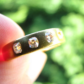 Beautifully Substantial 22K Gold and Old Mine Cut Diamond Band - 4 Fiery Old Mine Cut Diamonds - Wedding Band or Stacking Ring