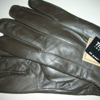Mens Brown Italian Leather Gloves Thinsulate Insulation Size Medium