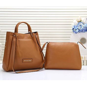 Michael Kors MK Women Fashion Leather Tote Crossbody Shoulder Bag Satchel Set Two Piece