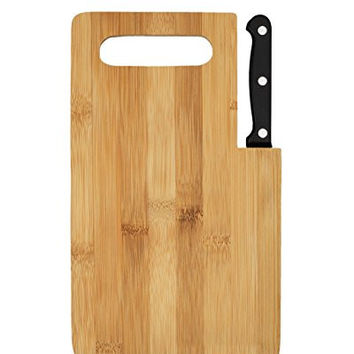 "Axeton Bamboo Cutting Board, 9""inches with Built-in Knife set, Antimicrobial Cutting Board, Germ Resistant Kitchen Chopping Board, Great for gift and cutting cheese, meat, vegetables, fruits, bread"