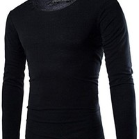 jeansian Men's Casual Cozy Solid O-Neck Long Sleeves T-shirts Tees Tops D617