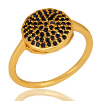 14K Yellow Gold Plated Sterling Silver Blue Sapphire Designer Stacking Ring