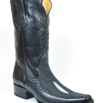 Gavel Handcrafted Men's Spanish Square Toe Black Sting Ray Cowboy Boot