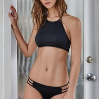 LA Hearts Strappy Back Cropped Bikini Top - Womens Swimwear - Black