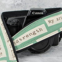 dSLR Camera Strap, Strength, Happy Thoughts too, Pocket, ,Aqua, Inspirational, Quotes, Canon Nikon Camera Strap, Camera Neck Strap, 214w