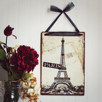 Valentines Day / Faux Vintage Paris Photo / Paris Decor / French Decor / Signage / Home Decor / Travel / Eiffel Tower / Gift Idea /