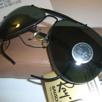 62[]14mm B&L RAY BAN G15 UV BLACK WRAP-AROUND OUTDOORSMAN AVIATOR SUNGLASSES NEW