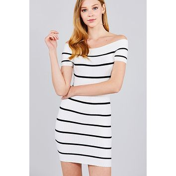 Womens sweaters cute casual fall winter fashion Short Sleeve Off The Shoulder Striped Mini Sweater Dress