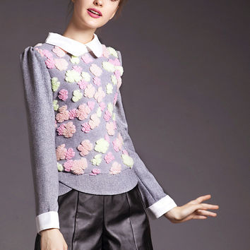 Gray Pointed Flat Collar Flower Embroidery Long Sleeve Top