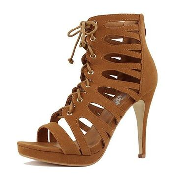 Guilty Heart Womens Cutout Gladiator Lace up High Heel | Open Toe Caged Stiletto Sandals