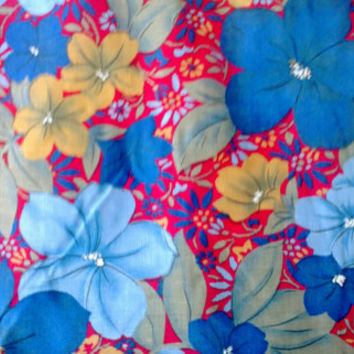 Large Blue Floral on Red Fabric 4 Yards X0270