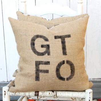 GTFO Burlap & Chevron 18 Pillow Hand Painted by MySwallowsNest