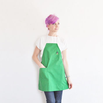 kelly green apron cover . tiny embroidered PENGUIN