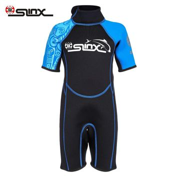 SLINX One-Piece Neoprene 2mm Short Sleeve Wetsuit Child Diving Swimming Equipment Swimsuit Surfing Wet Suit