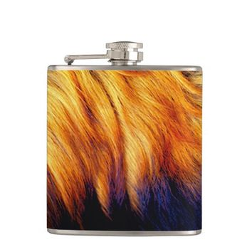 Cool horse tail fur texture trendy design flask