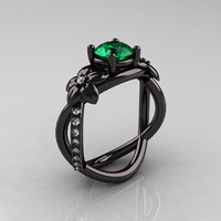 Designer Classic 18K Black Gold 1.0 CT Emerald Diamond  Leaf and Vine Wedding Ring, Engagement Ring R180-18KBGDEM