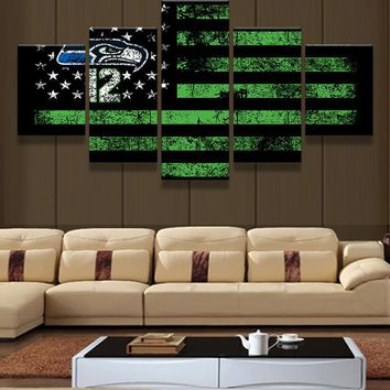 Art Abstract Original Indoor Framed  Seattle Seahawks American Flag 12th Man poster decoratio print canvas 5 pieces