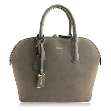Elegant Lady Suede Tote Bag With Splice and Rivets (3 Colors)