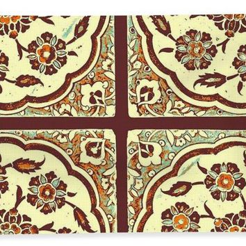 An Ottoman Iznik Style Floral Design Pottery Polychrome, By Adam Asar, No 14e - Bath Towel