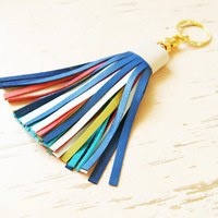 Multicolor Leather Tassel with gold Lobster Clasp and Split ring Bag Charm
