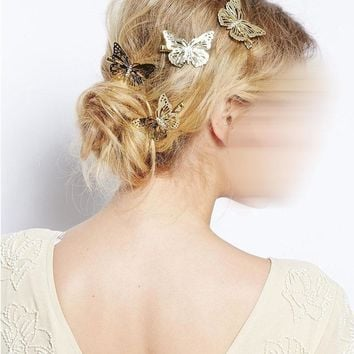 Lot 12 Pcs Hair Accessories Headwear Hair Grips Metal Gold Butterfly Hair Clip Hairpins Barrette Jewelry For Women Girls