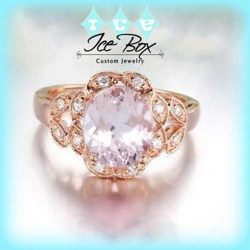 Morganite Engagement Ring 7mm x 9mm Oval Morganite or Hot Pink Sapphire  Diamond Leaf Halo Setting 14K Rose Gold