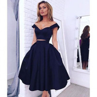 Sexy Off The Shoulder Royal Blue Cocktail Dress 2016 Short Prom Party Dresses Two Pieces Homecoming Dress Special Occasion Gowns