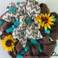 Chevron & Sunflowers On Brown Burlap Deco Mesh Wreath