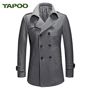 TAPOO Brand Fashion Gray Men Winter Coat Wool Blend Double Breasted Long Coat Oversize Classic Mens Pea Coat Plus Size M-XXXL