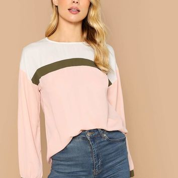 Cut-and-sew Curved Hem Blouse