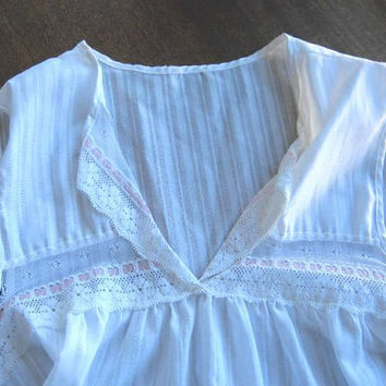White Knee-Length Nightie w/ Pink Ribbon Trim; Women's Medium Sleeveless Cotton Blend Nightgown; U.S. Shipping Included