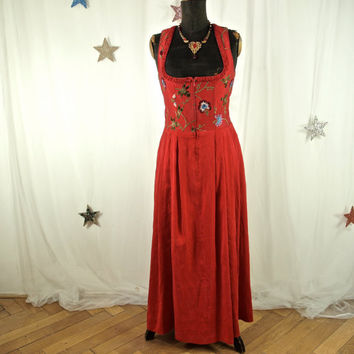 Red Silk Dirndl Long Embroidered Dress Corset Style Renaissance Style Zip Front size 40
