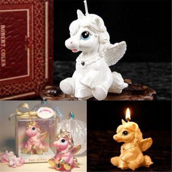 Unicorn Kids Birthday Candle Party Cake Cute Toy Decoration Romantic Bougie Gift