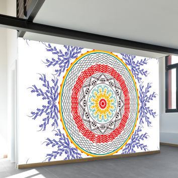 Red Indigo Floral Wall Mural