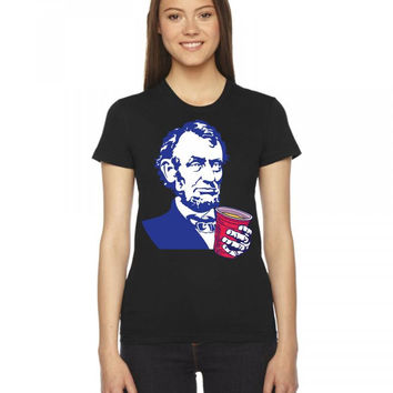 Abraham Lincoln Celebrating 4th Of July Women's Tee