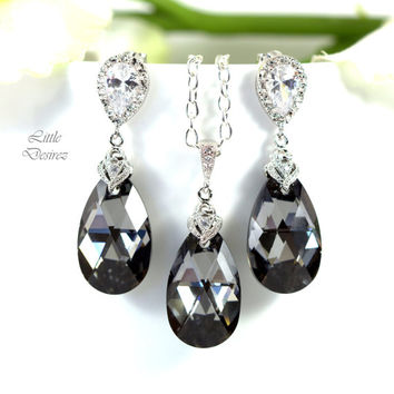 Charcoal Grey Earrings and Necklace Set Bridesmaid Gift Grey Jewelry Set Swarovski Silver Night Crystal Cubic Zirconia Jewelry SN32JS
