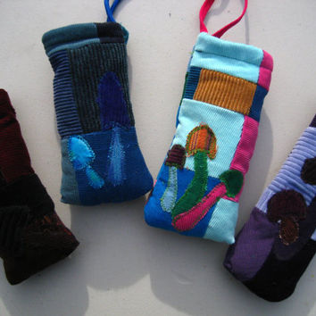 Patchwork Pipe/Glass Pouches with Mushroom appliques