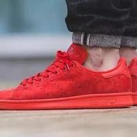 2017 Newest Adidas Originals Stan Smith Premium Suede Upper Shoes All Red