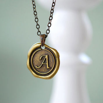 Wax Seal Necklace. Personalized Initial Necklace. Custom Initial, Monogrammed Alphabet Pendant Personalized Jewelry, Bridesmaid Gift