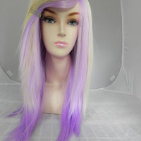 ON SALE / Blonde and Lavender / Long Straight Layered Wig Ombre