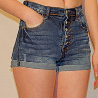 High Waisted Button Up Denim- Shorts