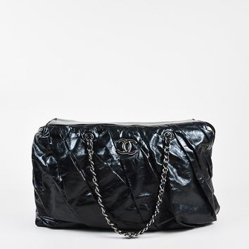 Chanel Black Glazed Leather Pleated Chain Strap 'CC' Shoulder Bag